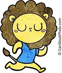 rennender , karikatur, löwe