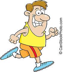 rennender , karikatur, mann