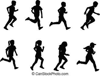 rennender , kinder, silhouetten