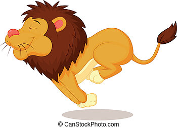 rennender , löwe, karikatur