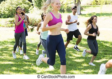 rennender , land, athleten, grasbedeckt