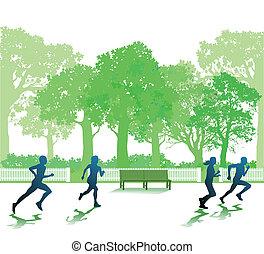 rennender , leute, park