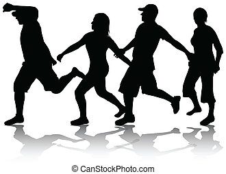 rennender , leute, silhouetten