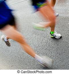 rennender , leute, stadt, marathon