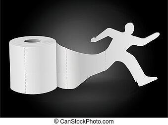 rennender , mann, hintergrund., toilettenpapier, schwarz