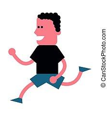 rennender , mann, ikone