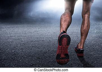 rennender , mann, nacht
