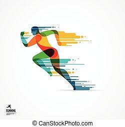 rennender , mann, sport, bunte, plakat, ikone, mit, spritzer, formen