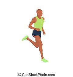 rennender , mann, vektor, abbildung