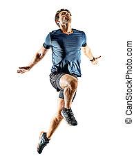 rennender , mann, weißes, jogger, läufer, hintergrund, freigestellt, junger