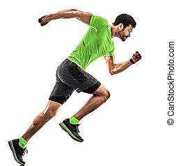 rennender , mann, weißes, jogger, silhouette, jogging, läufer, hintergrund, freigestellt