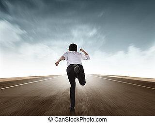 rennender , mann, zurück, geschaeftswelt, ansicht