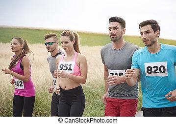 rennender , marathon, mannschaft