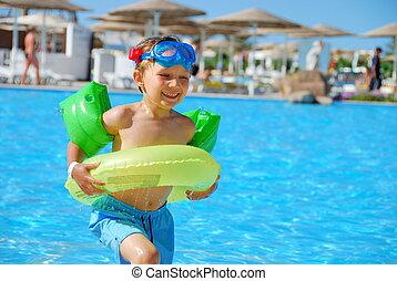 rennender , mit, schwimmen