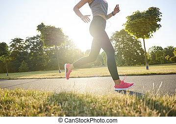 rennender , park, abschnitt, niedrig, frau, junger