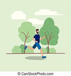 rennender , park, junger mann