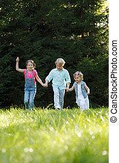 rennender,  Park, Kinder