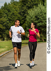 rennender,  Park, Paar, kaukasier