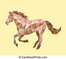 rennender , pferd, polygon, niedrig