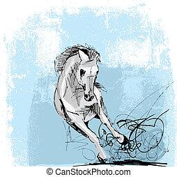 rennender , pferd, skizze, weißes