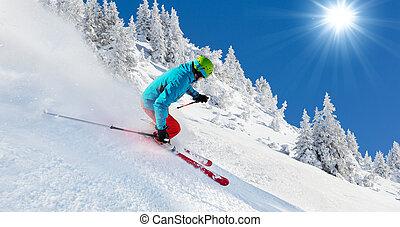 rennender , piste, abschüssiges skier