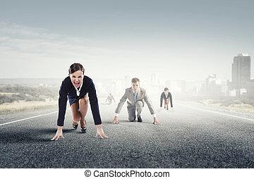 rennender , rennen, geschäftsmenschen