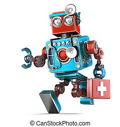 rennender , roboter, doktor, mit, stethoscope., isolated., enthält, ausschnitt weg