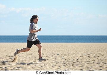 rennender , sandstrand, schnell, mann