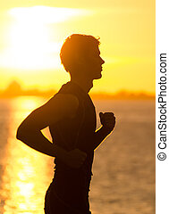 rennender , sandstrand, sonnenaufgang, mann