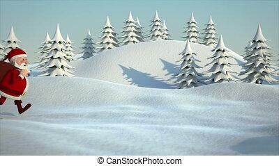 rennender,  santa, landschaftsbild, verschneiter