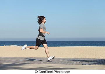 rennender , seafront, ansicht, sandstrand, seite, mann