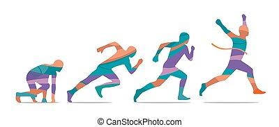 rennender , seite, start, läufer, finish., step., ansicht.