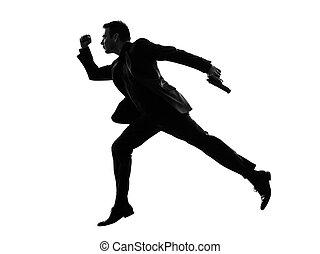 rennender , silhouette, kaufleuten zürich