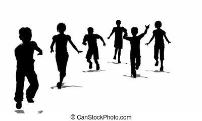 rennender , silhouette, kinder