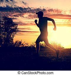 rennender , silhouette, mann