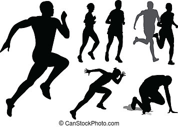 rennender , silhouetten, leute