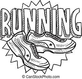 rennender , skizze, sport