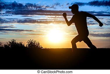 rennender , sonnenuntergang, mann