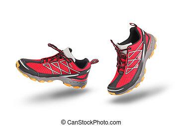 rennender , sport schuhe, rotes