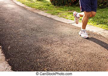 rennender , straße, jogging, mann