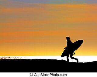 rennender , surfer, meer, heraus