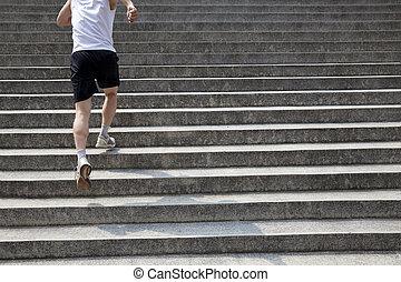 rennender , treppe, mann