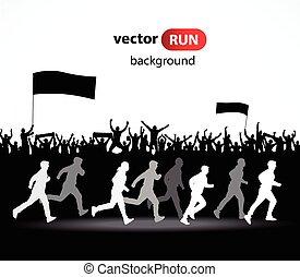 rennender , vektor, silhouetten