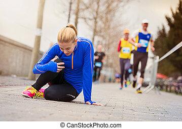 rennender , verletzung