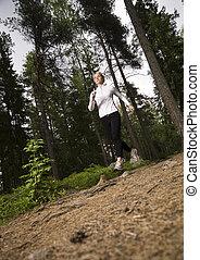 rennender , wälder, frau