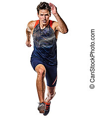 rennender , weißes, freigestellt, hintergrund, sprinter, mann, sprinten, junger, athletik, läufer