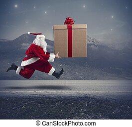 rennender , weihnachtsmann, mit, großes geschenk