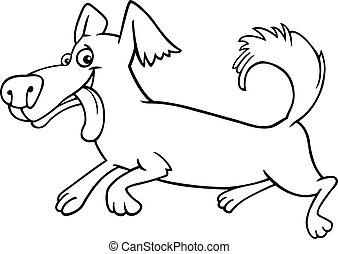 rennender , wenig, färbung, hund, karikatur