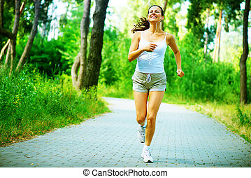 rennender , woman., draußen, workout, in, a, park