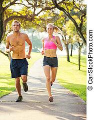 rennender , zusammen, paar, park